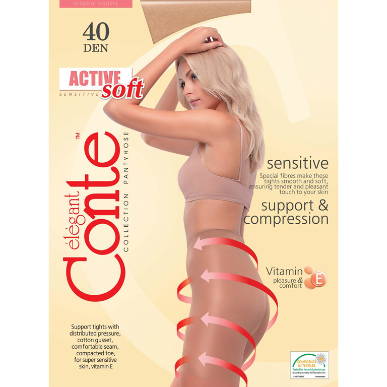 Conte Колготки женские ACTIVE SOFT 40, р.5, natural