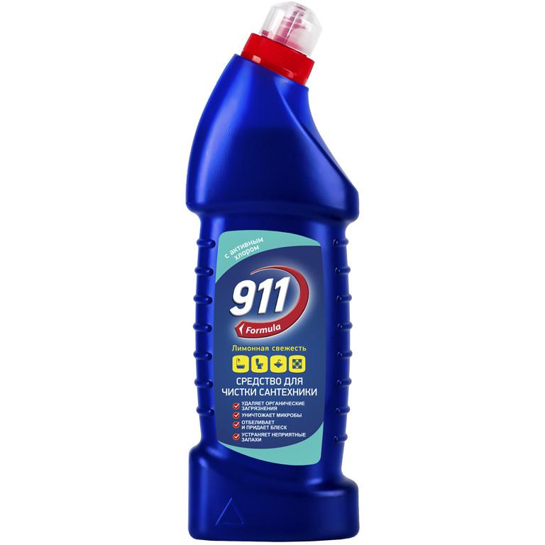 911 ср-во д/сантехники с активным хлором Лимонная свежесть 750мл (new), шт