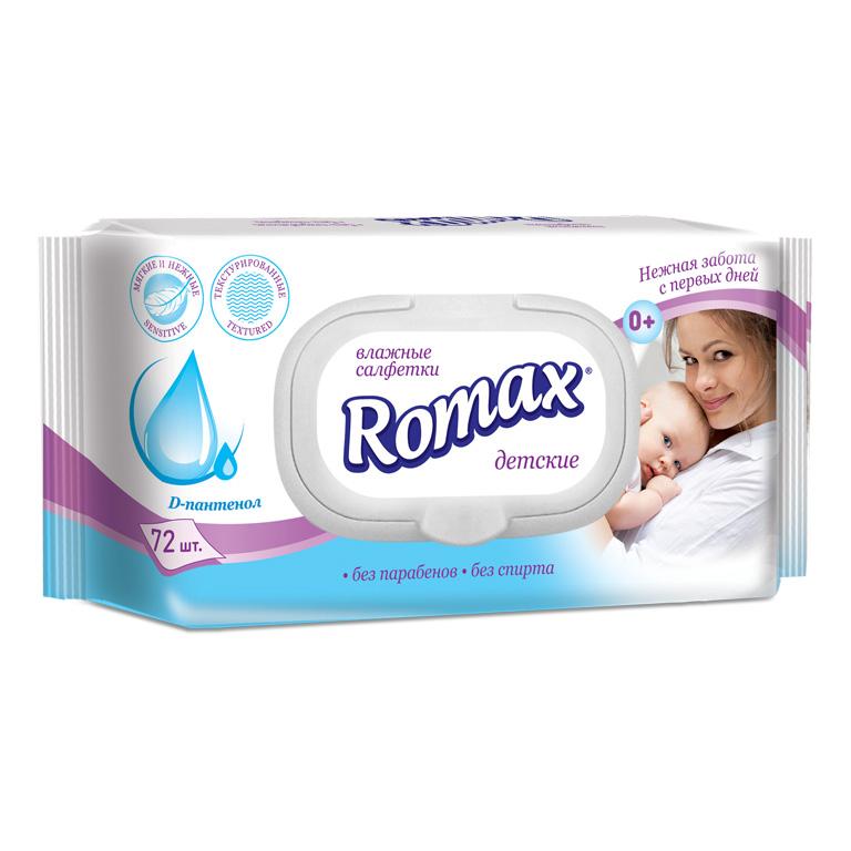 Детские влажные салфетки с пантенолом 72шт ТМ Romax