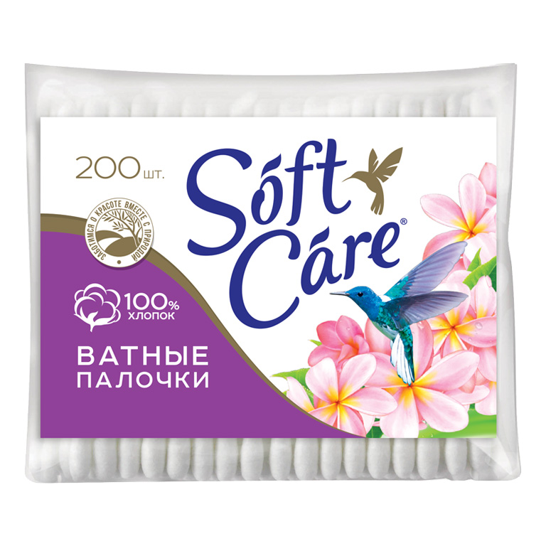 Ватные палочки Soft care, 200шт пакет